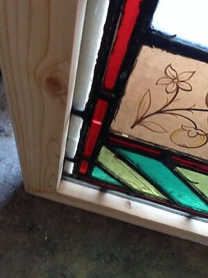 Sg 107 Antique Victorian Stained Glass Window With Rondell's And Painted Pieces 4