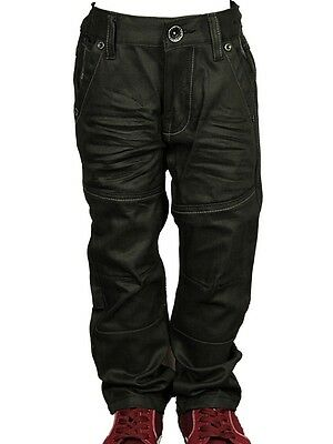 Boy's Babies Jeans Branded ENZO Designer Cuffed Straight Leg Black Pants 2