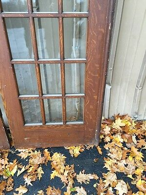 Pd1 Pair Antique Pine Wood Grain Interior French Doors Oversize 8