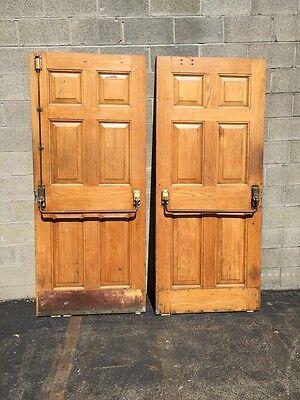 Cm 22 One Pair Antique Very Heavy Raise Panel Oak Entrance Doors 8