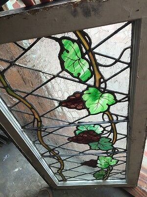 Sg 748 Antique Grape Vine Window With Painted Grapes 6