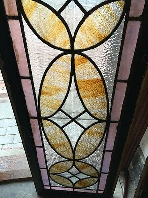 Sg 360 Antique Stainglass And Textured Glass Transom Window 3