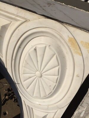 Antique White Marble Oversize Fireplace Mantle 12
