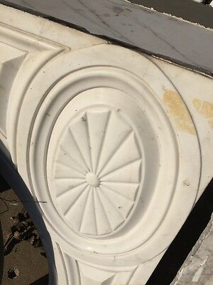 Antique White Marble Oversize Fireplace Mantle