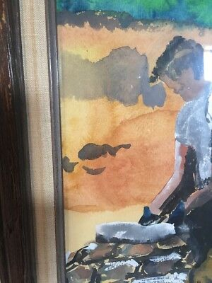 Original Painting Watercolor Man Building Stone Wall Primitive Framed Vintage 7