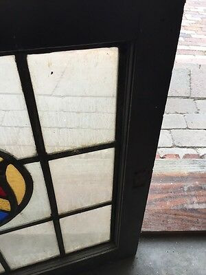 """Sg 670 Antique Stained Glass Shield Window 24.5 X 25"""" High 4"""