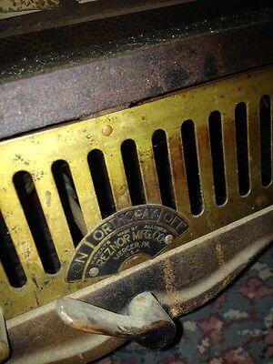 Steampunk 1900s IRON Steel Brass GAS FIREPLACE INSERT REZNOR Orthoray Rare Vtg 12