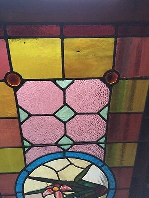 Sg 290 Antique Stained Glass Transom Window W/ 1 Flower 2