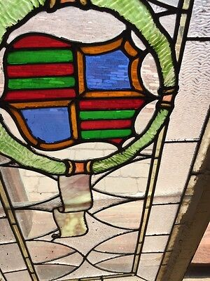 Sg 262 Antique Stained Glass Window Center Crest And Ribbon Design 5