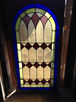 Sg 132 Antique Arched Stained Glass Window 33.5 X 63.25 High