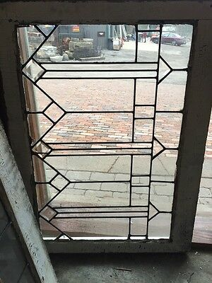 Sg 354 Matched Pair Antique Leaded Glass With Bevels Arrows Transoms 4