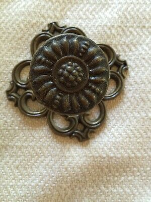 Vintage Drawer Pulls + Backplates, Mid-Century, Cast Mold, Bronze, Ajax Hardware 3