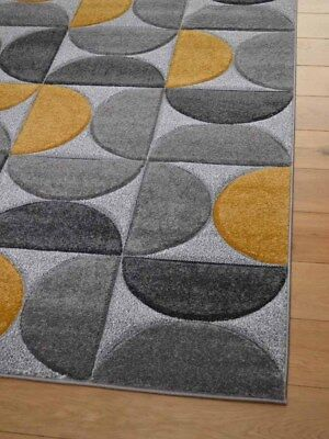 Gold Ochre Floor Rugs Modern Thick Soft Small Ex Large Grey Silver Carpets Cheap 2