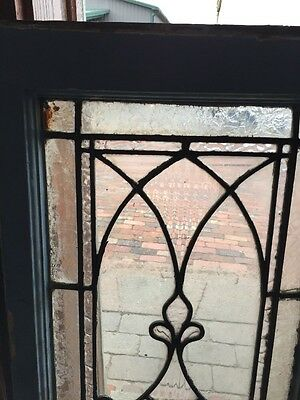 "Sg 884 Antique Textured Glass Beveled Center Window 16"" X 34.5"""