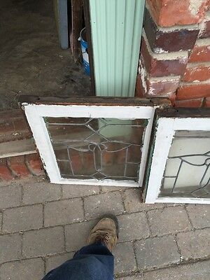 Sg 343 Matched Pair Antique Leaded Glass Windows 5