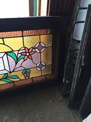 Sg 588 Antique Floral Vine Transom Window Beveled Glass Center 5