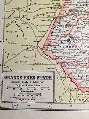 Vintage Antique Original 1920 Map Of South Africa Orange Free State & Bloemfonte