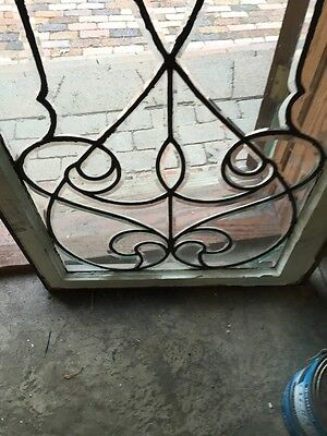 Sj 327 Groovy Antique Swirly Beveled  Glass Transom Large 4