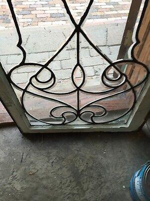 Sj 327 Groovy Antique Swirly Beveled  Glass Transom Large 4