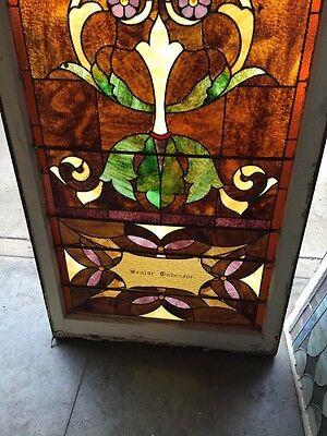 "Ca 11 Antique Stain Glass Window 36"" X 8' 5"