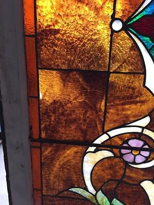 "Ca 9 Antique Stained Glass Landing Window 36"" X 8' 8"