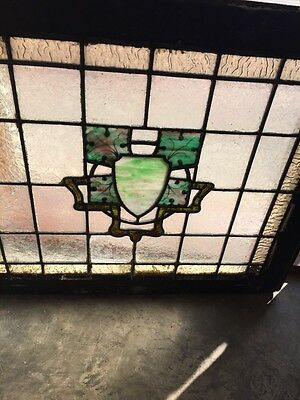 Sg 562 Antique Stainglass Window Depicting A Crest And Painted Leaves 3