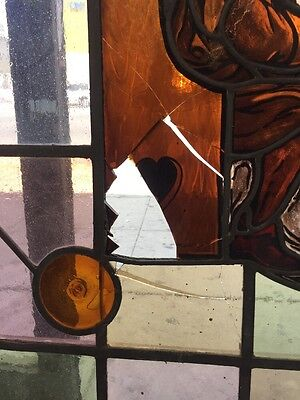 Old Stained Glass Window Men Drinking At A Pub With Accidental Glass Accents 5
