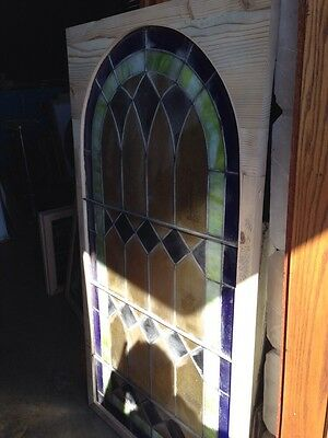 Sg 132 Antique Arched Stained Glass Window 33.5 X 63.25 High 7