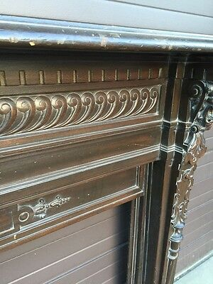 Magnificent Carved Oak Fireplace Mantle With For Lionhead's Amazing