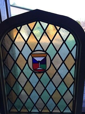 Sg 280 Antique Arched Stained Window 39 1/2 Inches High By 30 1/2 Inches Wide 2
