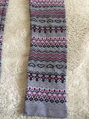 One Step Up Girls Gray Pink Black Hearts Geometric Knit Leggings XL 18 4
