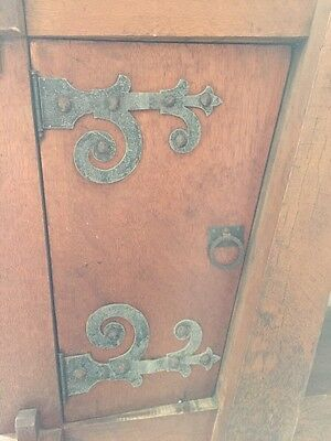 Antique Quartersawn Oak Fancy Mission Mantle With Clock 4