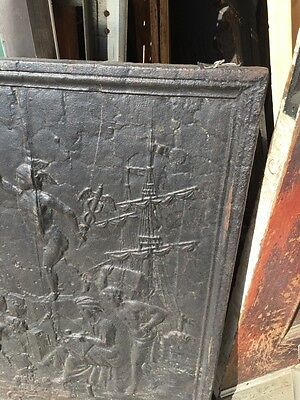Antique Cast-Iron Figural Fire Back French 32 Inch Wide By 32 Inch High 3