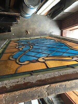Sg 694 Antique Stained Glass Transom With Jewels 12