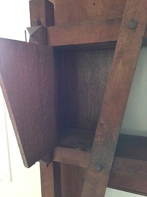 Antique Quartersawn Oak Fancy Mission Mantle With Clock 5