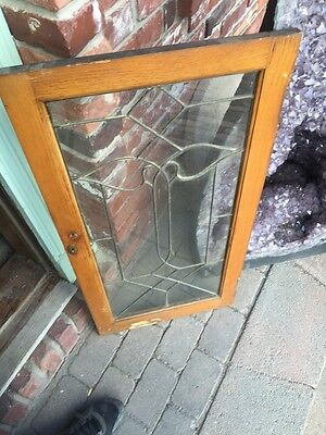 """Sg 824 Antique Leaded Glass Window 18"""" X 35 And Three-Quarter Inch"""