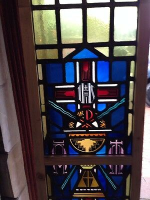 Sg 215 Antique Religious Window With Chalice And Stags 3