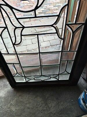 Sg 307 Antique All Beveled  Glass Transom Window With 2  Small Cracks 4