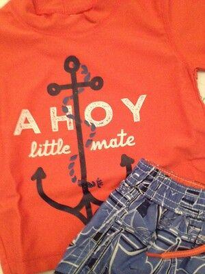 627e51ad91 ... Carters Baby Boy Rash Guard Swimsuit Trunks Set Size 12 18 24 Months  Nautical 2