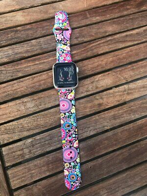 US Flower Floral Silicone Sport Band For Apple Watch Series 4 3 2 1 Wrist Strap 5