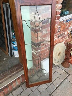 Sg 557 Antique Leaded Floral Transom Window Oak Frame 5