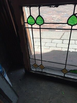Sg 550 Antique Arts And Crafts Stained And Leaded Transom Window 2