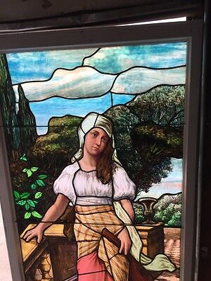 Sg 10 Antique Turn-Of-The-Century Stainglass Lady Landing Window