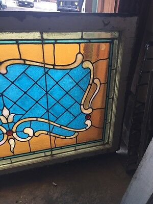 Sg 694 Antique Stained Glass Transom With Jewels 4
