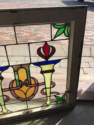 Sg 561 Antique Olympic Torches Stainglass Window Beautiful Colors 4