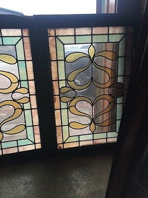 SG 418 Matched Pair Antique Windows With Beveled Glass Center 2