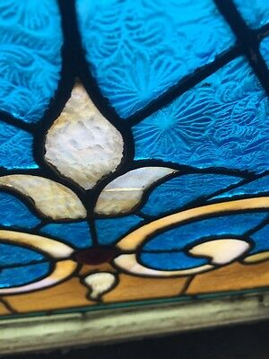 Sg 694 Antique Stained Glass Transom With Jewels 6