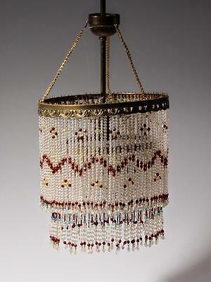 Vintage Czech double layer glass fringe beaded gold tone ceiling chandelier 2