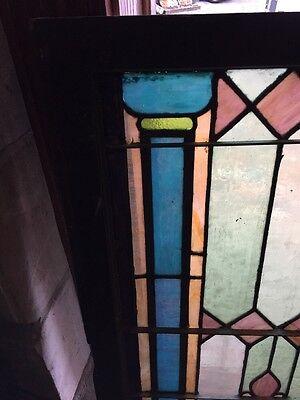 "Sg 892 Antique Stainglass Landing Window 27.25 X 44.5"" 2"