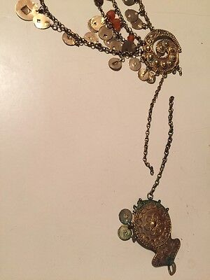 Antique Greek Gilded Belt W. Pendant Ahati Stones - Over 100 Years Old! 9